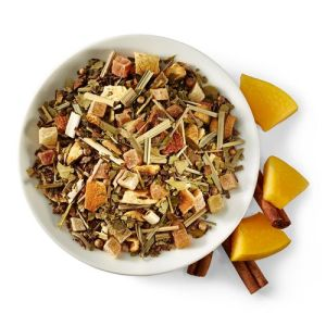 Sweet and spicy infusion of cinnamon and citrus undertones with papaya. The way of the warrior is strength, skill, fairness, mercy, power, energy and balance. Our chai embodies this spirit with an invigorating green mate and green rooibos blend. Cinnamon, anise and cardamom blend with papaya, pineapple, orange and lemongrass- a combination to face every new day samurai-style.